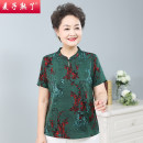 Middle aged and old women's wear Spring 2021 Green red XL 2XL 3XL 4XL fashion T-shirt easy singleton  Decor 40-49 years old Socket thin stand collar routine routine M212-026 The wheat is ripe Button other Other 100% 96% and above Pure e-commerce (online only) Single breasted Short sleeve trousers