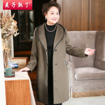 Middle aged and old women's wear Winter of 2018 Caramel olive green XL 2XL 3XL 4XL fashion woolen coat Straight cylinder singleton  Solid color 40-49 years old Cardigan moderate Hood Medium length routine M184-215 The wheat is ripe Button wool Polyester 50% wool 50% 31% (inclusive) - 50% (inclusive)
