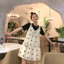 Dress Spring of 2019 Skirt + black T-shirt, suspender dress + Black T-Shirt S,M,L Mid length dress Short sleeve Crew neck camisole