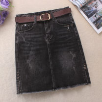 skirt Spring 2021 S,M,L,XL,2XL,3XL Short skirt Versatile High waist Denim skirt Solid color Type A 25-29 years old 51% (inclusive) - 70% (inclusive) Denim cotton