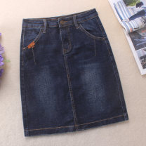 skirt Spring 2020 S,M,L,XL,2XL navy blue Middle-skirt Versatile High waist skirt Solid color Type A 25-29 years old 71% (inclusive) - 80% (inclusive) Denim Other / other cotton Old, scratch