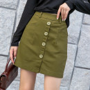 skirt Autumn of 2019 S,M,L,XL Army green Short skirt Versatile low-waisted A-line skirt Solid color Type A 30-34 years old 31% (inclusive) - 50% (inclusive) knitting Other / other cotton Button