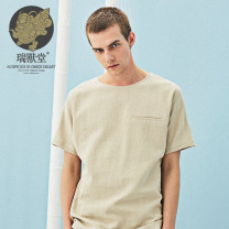 T-shirt other routine S,M,L,XL Short sleeve Crew neck easy Other leisure summer routine Chinese style 2018 Solid color pocket Cotton and hemp Chinese culture other
