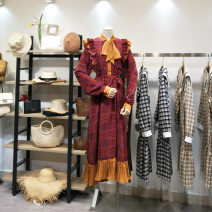Dress Autumn of 2019 Red, yellow, brown Average size Mid length dress singleton  Long sleeves commute Scarf Collar Loose waist lattice Socket Pleated skirt shirt sleeve Others 25-29 years old Type H Korean version 81% (inclusive) - 90% (inclusive) Chiffon polyester fiber
