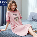 Nightdress Rambling #R2130 #R2126 #R2131 YZT561 YZT562 YZT563 YZT5655 YZT5673 #R2129 M L XL XXL Sweet Short sleeve pajamas Middle-skirt summer Plants and flowers youth Crew neck cotton printing More than 95% pure cotton Man / short sleeve nightdress 200g Summer 2020 Cotton 100%
