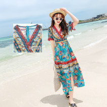 Dress Summer of 2019 Blue neckline with no pin Bead Blue neckline with crystal bead S M L XL XXL 3XL longuette singleton  elbow sleeve Sweet V-neck High waist Decor Socket Irregular skirt routine Others 30-34 years old Type A Jean SSIE / Zhenxi printing TS-113 More than 95% polyester fiber Bohemia