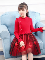 Dress Red, yellow, green, red thickened, yellow thickened, green thickened female Other / other Other 100% spring and autumn ethnic style Long sleeves Solid color Cotton blended fabric A-line skirt Class B Chinese Mainland