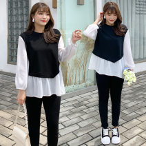 Women's large Autumn 2020 Single black and white top ก 2586, single black casual pants ก 2307 XL reference weight 120-155 kg, 2XL reference weight 155-180 kg, 3XL reference weight 180-205 kg, 4XL reference weight 205-245 kg Other oversize styles commute Solid color other cotton other Fenghuang Yiwu