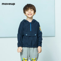 T-shirt Cold brick grey lake blue moveup kids 110cm 120cm 130cm 140cm male spring and autumn Long sleeves V-neck There are models in the real shooting No detachable cap cotton Cartoon animation Cotton 96.9% polyurethane elastic fiber (spandex) 3.1% Class B other Spring of 2018