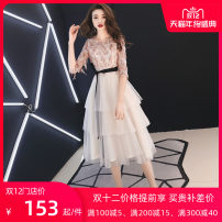 Dress / evening wear The company's annual convention performs daily appointments XS S M L XL XXL customized non refundable Champagne medium long champagne short black skirt princess longuette High waist Spring of 2019 Fluffy skirt U-neck zipper 18-25 years old FW1904 elbow sleeve houndstooth  Dancing