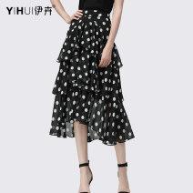skirt Summer 2020 S M L XL XXL XXXL XXXXL Wave point / dot Mid length dress Versatile Natural waist Cake skirt Dot 35-39 years old BE11587 More than 95% Yihui polyester fiber Splicing Polyester 100%
