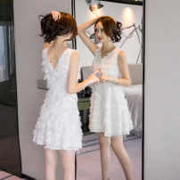 Pajamas / housewear set male Ezrin S,M,L White, black wool Sleeveless V-neck Solid color zipper Short skirt