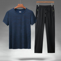 Casual pants Lieyan Fashion City M L XL 2XL 3XL 4XL 5XL 6XL thin trousers Other leisure Straight cylinder get shot PG92006 summer middle age Military brigade of tooling 2020 middle-waisted Straight cylinder Polyester 92% polyurethane elastic fiber (spandex) 8% Overalls Pocket decoration Solid color