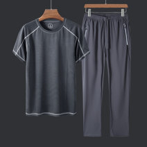 Casual pants Lieyan Fashion City M L XL 2XL 3XL 4XL 5XL thin trousers Other leisure Straight cylinder High shot 601+2021. summer middle age Basic public 2020 Medium high waist Straight cylinder Polyester 100% Sports pants Pocket decoration No iron treatment Solid color Summer 2020