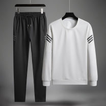 Leisure sports suit spring M L XL 2XL 3XL 4XL 5XL White black gray blue Long sleeves Lieyan trousers middle age Sweater LW988- Spring 2020 Polyester 95% spandex 5%