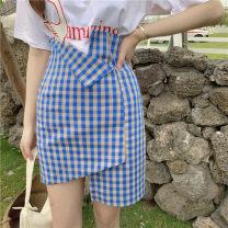 skirt Summer 2020 M,L,XL,2XL,3XL,4XL blue Short skirt commute High waist A-line skirt lattice Type A 31% (inclusive) - 50% (inclusive) Cellulose acetate Zipper, stitching Korean version