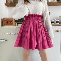 skirt Winter 2020 XL,2XL,3XL,4XL,5XL,6XL,7XL Rose, black, white Short skirt commute High waist Pleated skirt Solid color Type A 18-24 years old 31% (inclusive) - 50% (inclusive) polyester fiber fold Korean version