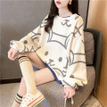 Sweater / sweater Spring 2021 Blue apricot orange M L XL 2XL Long sleeves routine Socket Fake two pieces Thin money Crew neck easy commute routine Cartoon animation 18-24 years old 71% (inclusive) - 80% (inclusive) Ya Jia Xin Korean version polyester fiber QQ0216 Print stitching cotton Cotton liner