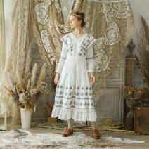 Dress Winter of 2018 white S code spot, M code spot, l code spot longuette singleton  Long sleeves Sweet V-neck Decor zipper Princess sleeve Type X Face Art Embroidery, lace Mori