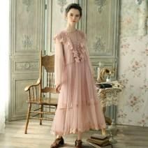 Dress Spring of 2018 Meat Pink S code in stock longuette singleton  Long sleeves Sweet V-neck High waist zipper Big swing other Type A Face Art More than 95% polyester fiber Mori