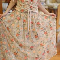 skirt Summer of 2019 S code spot, M code spot, l code spot Decor longuette Sweet Natural waist A-line skirt Type A CC22896 Face Art Embroidery, beads, sequins Mori
