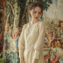 Dress Spring 2020 cream-like color longuette singleton  Long sleeves Sweet Crew neck middle-waisted zipper Princess Dress routine Type X Face Art Mori
