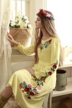 Dress Winter 2014 Light yellow S,M,L Mid length dress singleton  Long sleeves Sweet Crew neck middle-waisted Socket other pagoda sleeve Others Face Art Embroidery, lace up, buttons CC05369 More than 95% brocade other Mori