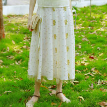 skirt Spring 2017 S spot, m spot, l spot Off white Mid length dress dream Natural waist A-line skirt Solid color Type A CC15485 More than 95% other Face Art polyester fiber Lace, bandage, beads, sequins
