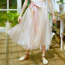 skirt Spring 2017 S spot, m spot, l spot Lotus root color longuette dream Natural waist Fairy Dress Solid color Type A CC15723 More than 95% other Face Art polyester fiber Embroidery, beads, sequins