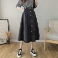 skirt Summer 2021 S M L XL Black light blue Mid length dress commute High waist A-line skirt Solid color Type A 18-24 years old More than 95% other Tui love other Pocket lace up button zipper stitching Korean version Other 100% Pure e-commerce (online only)