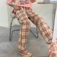 Casual pants Pink lattice Average size Summer 2020 trousers Wide leg pants High waist Versatile Thin money 18-24 years old 31% (inclusive) - 50% (inclusive) Plnaa / polana Other 100%