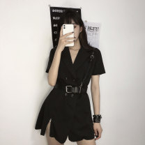 Dress Summer 2020 Black skirt with belt S M L Short skirt singleton  Short sleeve commute tailored collar High waist Solid color double-breasted A-line skirt routine Others 18-24 years old Type A Plnaa / polana Korean version Stitched button zipper asdsadasd More than 95% other other Other 100%
