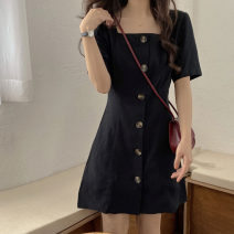 Dress Summer 2020 black Average size Mid length dress singleton  Short sleeve commute square neck High waist Solid color Single breasted A-line skirt routine 18-24 years old Type A Plnaa / polana Korean version More than 95% other other Other 100%