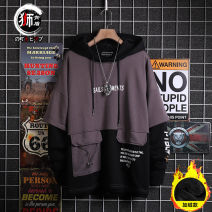 Sweater Youth fashion Shikendun Regular black regular grey Plush black Plush grey M L XL 2XL Solid color Socket Plush Hood winter easy leisure time teenagers tide Off shoulder sleeve A5505 Fleece  Cotton 85% polyester 15% Color matching No iron treatment Autumn 2020 Digging bags with lids