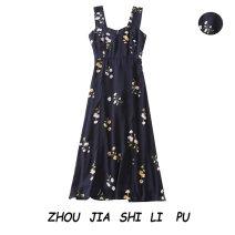 Dress Summer 2020 Navy Blue S,M,L Mid length dress Sleeveless Socket 31% (inclusive) - 50% (inclusive)