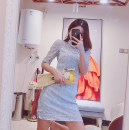 Dress Summer 2021 White, blue S,M,L Middle-skirt elbow sleeve stand collar High waist routine 30% and below cotton