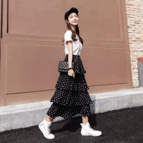skirt Spring 2021 Average size Black and white Mid length dress Versatile High waist Cake skirt Dot Type A 18-24 years old Chiffon Gokamu Pleated stitching printing Pure e-commerce (online only) 161g / m ^ 2 (including) - 180g / m ^ 2 (including)