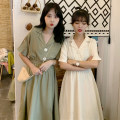 Dress Summer of 2019 Off white black green longuette singleton  Short sleeve commute tailored collar High waist Solid color Socket A-line skirt routine 18-24 years old Type A Sakami Ol style More than 95% other Other 100%