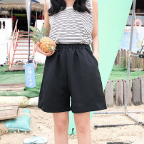 Casual pants Average size Summer of 2018 shorts Wide leg pants High waist routine 18-24 years old 96% and above Sakami polyester fiber pocket polyester fiber Other 100%