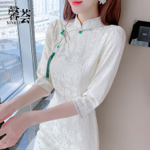 Dress Spring 2021 Picture color S M L XL Mid length dress singleton  three quarter sleeve commute stand collar High waist Solid color Socket A-line skirt routine Others 25-29 years old Type A Xinhui Korean version Pleated stitching three-dimensional decorative bead button lace XH2021XZ0156 other