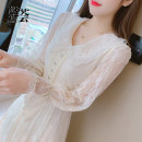 Dress Winter 2020 Picture color S M L XL Mid length dress singleton  Long sleeves commute Doll Collar High waist Solid color Socket A-line skirt pagoda sleeve Others 25-29 years old Type A Xinhui Korean version More than 95% other Other 100% Pure e-commerce (online only)