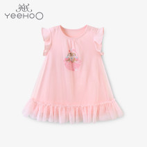 Dress female Yeehoo / English Cotton 100% summer leisure time Cartoon animation cotton Lotus leaf edge Class A 12 months, 9 months, 18 months, 2 years old, 3 years old, 4 years old, 5 years old