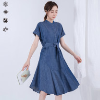 Dress Summer of 2019 Denim dark blue S,M,L Mid length dress singleton  Short sleeve commute stand collar Loose waist Solid color Single breasted Big swing Bat sleeve Type A Pick up the card lady 51% (inclusive) - 70% (inclusive) other