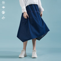 skirt Spring 2020 S, M blue Middle-skirt commute Natural waist Irregular Solid color Type A 25-29 years old 51% (inclusive) - 70% (inclusive) Pick up the card cotton literature