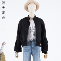 short coat Spring 2020 S, M black Long sleeves have cash less than that is registered in the accounts routine singleton  easy commute bishop sleeve stand collar zipper Solid color 25-29 years old 30% and below hemp Viscose
