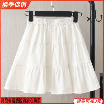 skirt Summer of 2019 White, black Short skirt Versatile Natural waist A-line skirt Solid color Type A