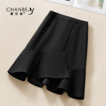 skirt Summer 2021 26/S 27/M 28/L 29/XL 30/2XL black Short skirt commute High waist Ruffle Skirt Solid color Type A XBY123 More than 95% Xiangbeiyi polyester fiber Asymmetrical open line decoration with ruffles Korean version Polyethylene terephthalate (polyester) 98% polyester 2%