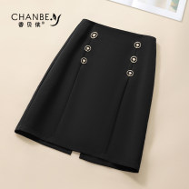 skirt Summer 2021 26/S 27/M 28/L 29/XL 30/2XL black Short skirt commute High waist A-line skirt Solid color Type A XBY101 More than 95% Xiangbeiyi polyester fiber Buttons and zippers with open line decoration Korean version Polyester 96.8% polyurethane elastic fiber (spandex) 3.2%