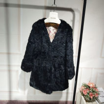 leather and fur Winter of 2018 POP Black S,M,L,XL,2XL Medium length three quarter sleeve commute other routine Three buttons rabbit 's hair Korean version 18-24 years old