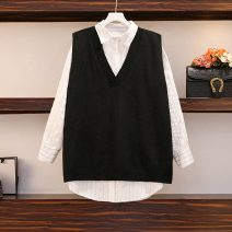 Women's large Autumn 2020, winter 2020 Sweater, vest, shirt, suit Large XL, large XXL, large XXL, large XXXXL, large L Two piece set commute easy moderate Socket Korean version Polo collar Medium length Polyester, cotton Three dimensional cutting 51% (inclusive) - 70% (inclusive)